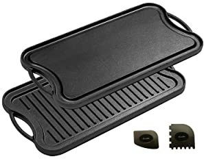"""Cast Iron Griddle (20"""" by 10""""), Reversible, Pre-Seasoned, Grill and Griddle Combo, BBQ, Campfire, fits over two stovetop burners"""