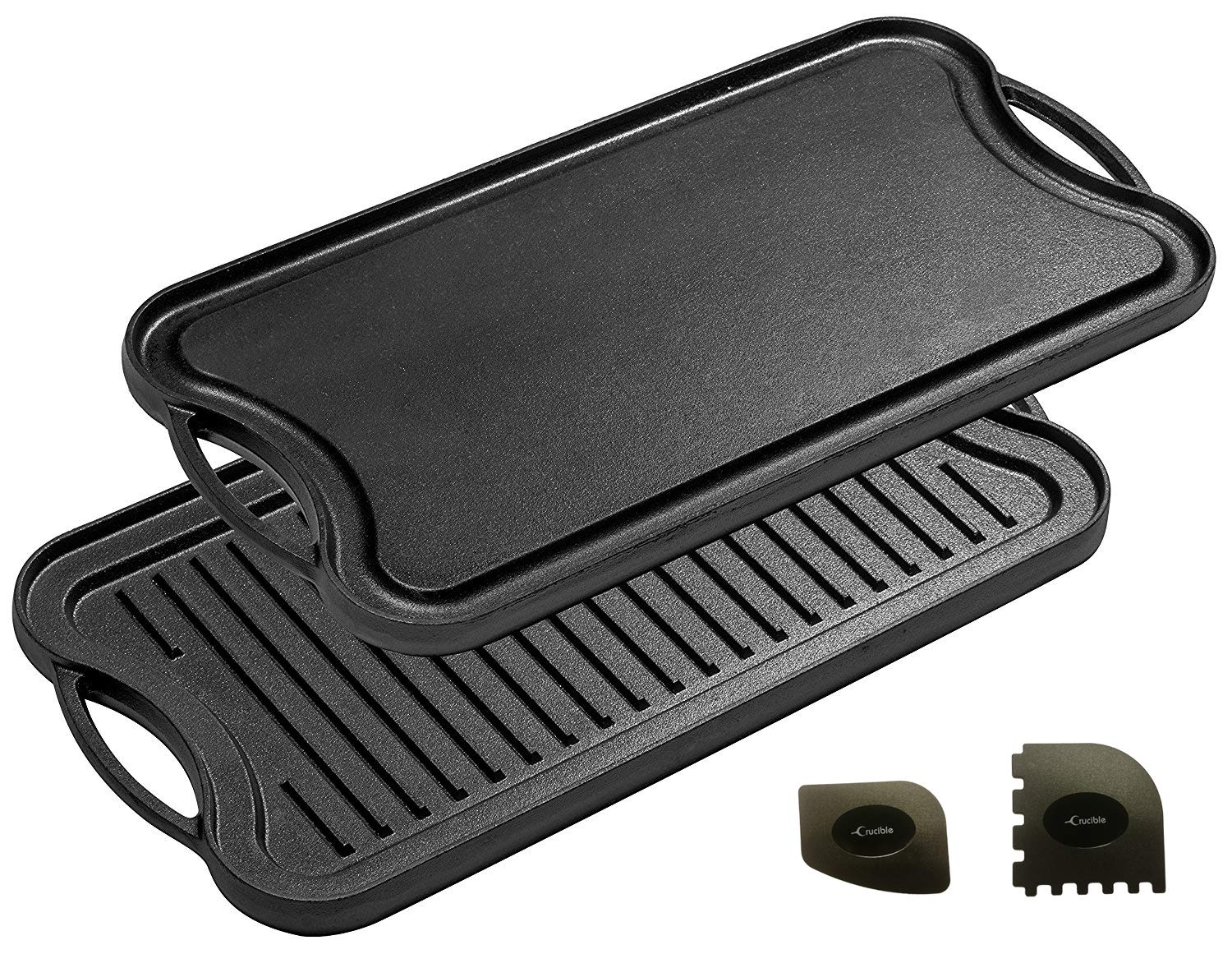 Cast Iron Griddle (20'' by 10''), Reversible, Pre-Seasoned, Grill and Griddle Combo, BBQ, Campfire, fits over two stovetop burners