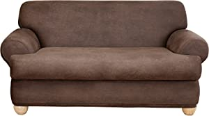 SureFit Home Decor Stretch Leather T-Cushion Loveseat Two Piece Slipcover, Form Fit, Polyester/Spandex, Machine Washable, Brown Color