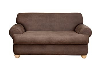 sure fit stretch leather 2piece loveseat slipcover brown sf37329