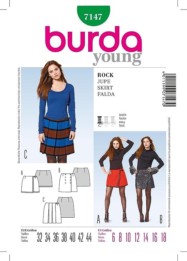 Amazon.com: Burda Young 7147 Skirt Pattern Size 6-8-10-12-14-16-18 ...