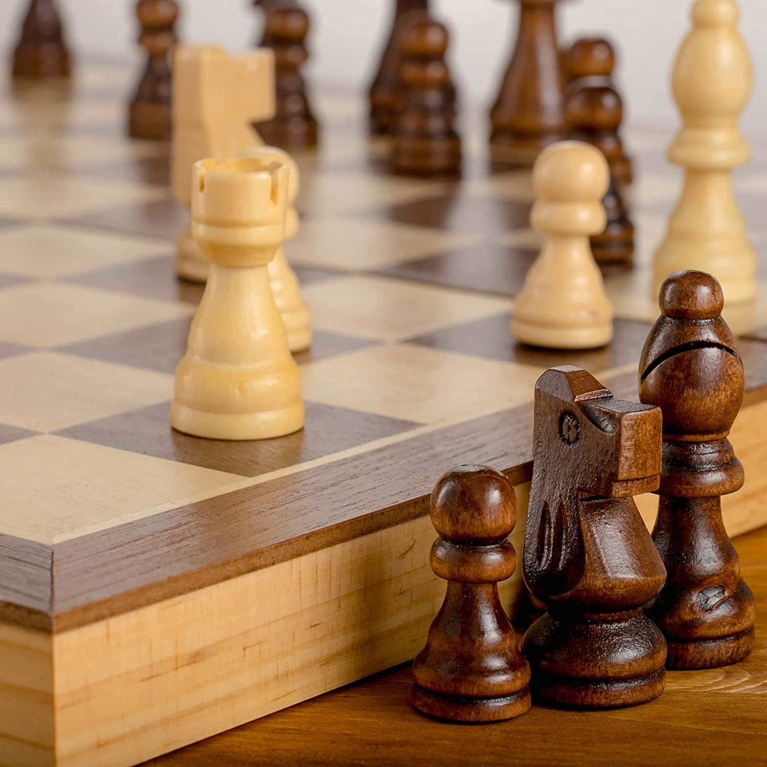 Chess Armory 15 Large Magnetic Wooden Chess Set with Felted Game Board Interior for Storage