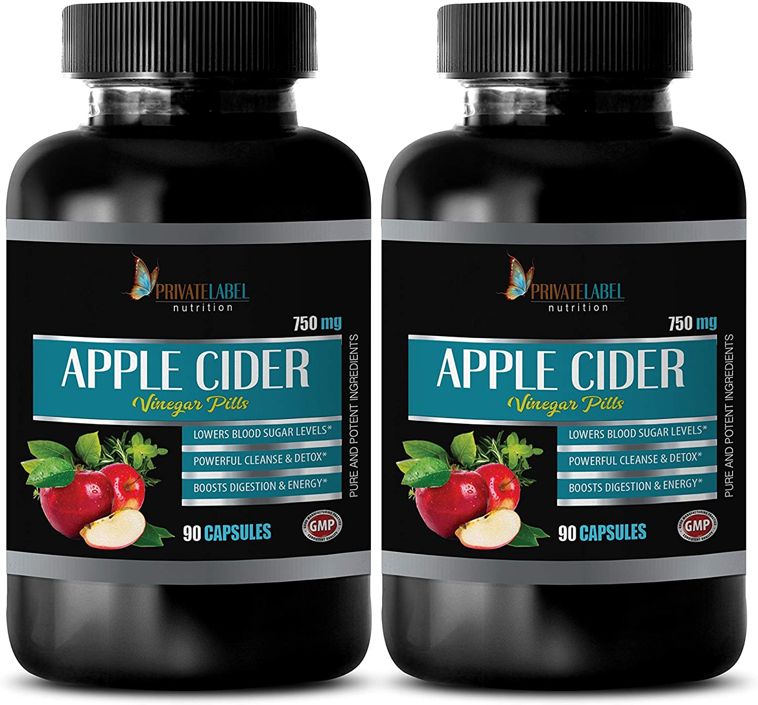 Cholesterol lowering Supplements That Work - Apple Cider Vinegar Pills 750 MG - boosts Digestion and Energy, Lowers Blood Sugar Levels - spirulina Supplement - 2B (180 Capsules)