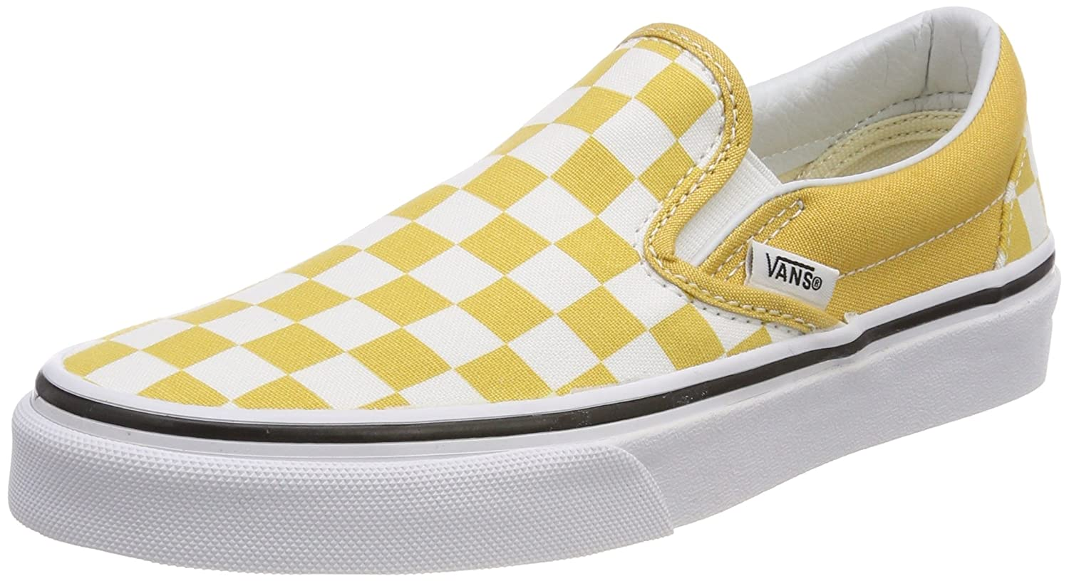 Vans Unisex Classic Slip-On (Perf Leather) Skate Shoe B074HFQ9K3 10.5 UK|(Checkerboard) Ochre/True White
