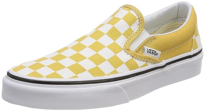 Vans Classic Slip Schuhe Unisex Damen Herren Erwachsene Gelb Weiß Kariert