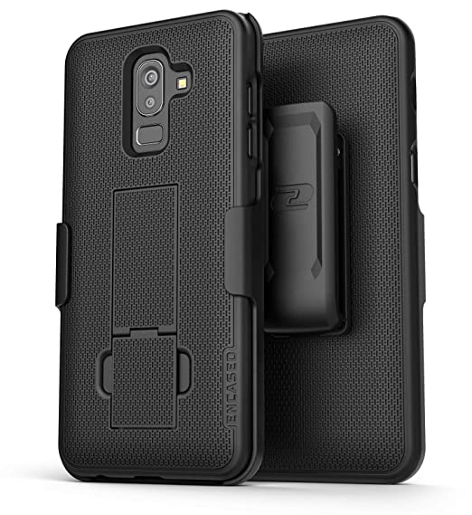 finest selection 62ef7 e7e8f Encased Galaxy J8 Belt Clip Case, Ultra Slim Protective Hard Cover  w/Holster Clip (DuraClip Combo Series) for Samsung Galaxy J8 Phone - Smooth  Black