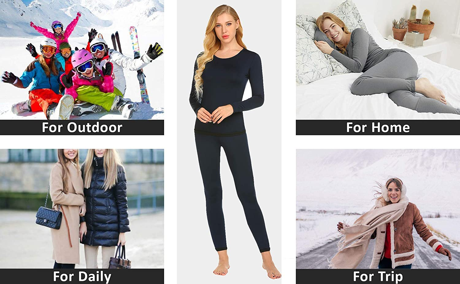Ekouaer Mens and Womens Thermal Underwear Sets Micro Fleece Lined Long Johns Base Layer Thermals 2 Piece Set