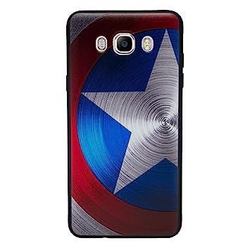I-CHOOSE LIMITED 3D Marvel Funda/Carcasa del Teléfono para Samsung Galaxy J7 2016 Gel/TPU / Capitán América - Escudo