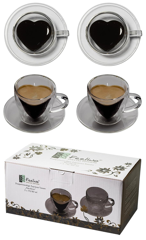Tquiero 2 Tazze da caffè Bicolore a Forma di Cuore 2X 70ml con Manico e sottobicchiere, Moderne, Eleganti e di Classe per Il Tuo Espresso Molto Speciale - Anche Perfetto Come Regalo, di Feelino (R)