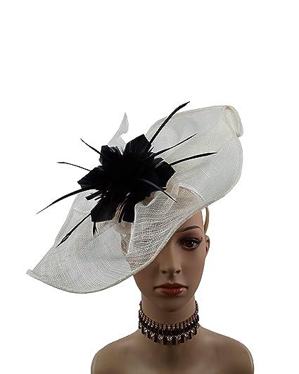 9057ab1a6f3 ABPF Big Eye Catching Sinamay Fascinator Headband Hats Derby Racing Hat  Wedding Church Hair Accessories Millnery