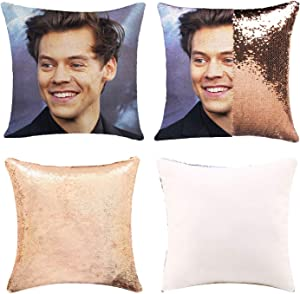 Funny Sequin Pillow Cover Funny Gag Gifts Magic Reversible Home Decorative Cushion Cover 16x16 (Champagne Gold, Pack of 1)
