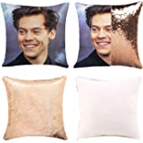 Harry Styles Funny Sequin Pillow Cover Funny Gag Gifts Magic Reversible Home Decorative Cushion Cover 16x16 (Champagne Gold, Pack of 1)