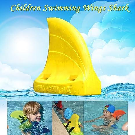 Niños natación alas artefacto biónica natación tiburón flotabilidad ayuda Formación flotadores natación herramienta, amarillo