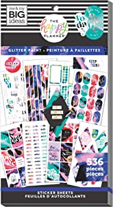 The Happy Planner Value Pack Sticker Sheets - Scrapbooking Supplies - Glitter Paint Theme - Multicolor - Great for Journals, Scrapbooks & Albums - 536 Stickers