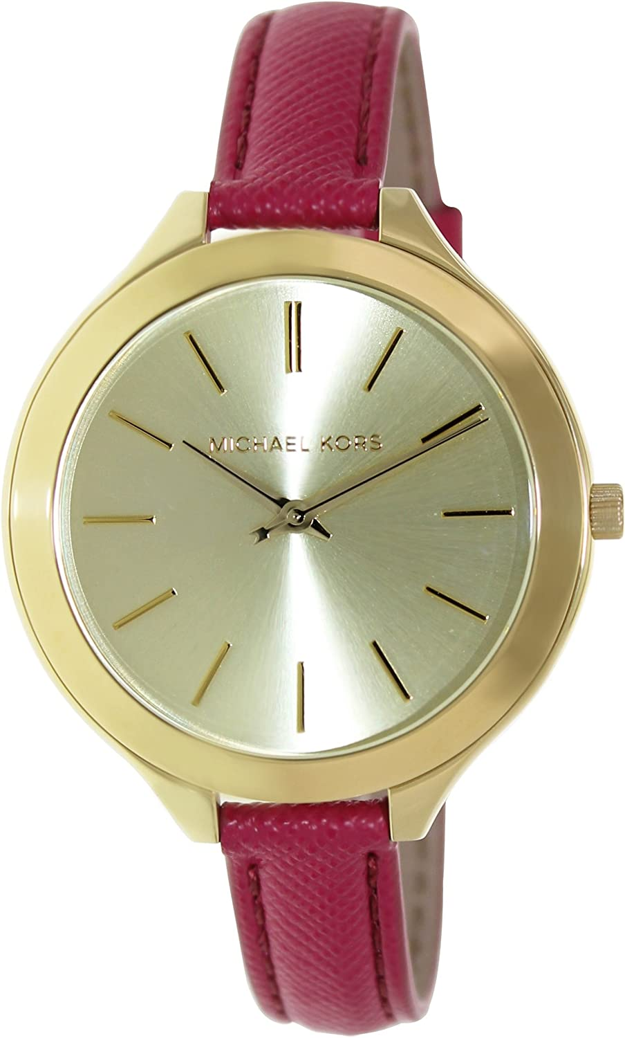 Michael Kors Women s Leather Slim Runway Watch, Gold Pink, One Size