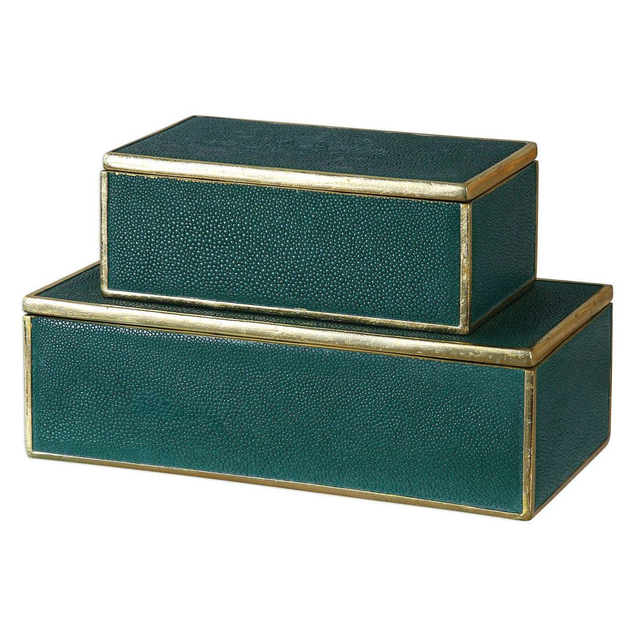 Uttermost 2-Pc Decorative Box Set in Emerald Green