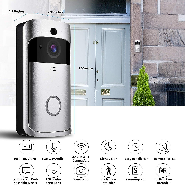 Video Doorbell- OnLyee WiFi 1080P Full HD Real-time Smart Doorbell with IP 65 Waterproof, PIR Montion Detection, Free Cloud Storage, Two-Way Audio and 433Mhz Doorbell Chime 1080P Silver