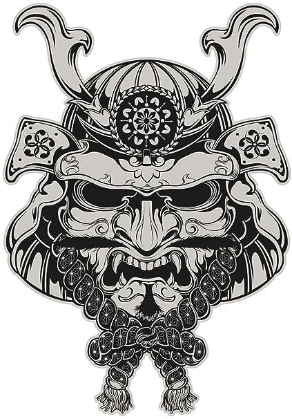 Japonés Samurai máscara de demonio gris negro vinilo adhesivo dos en un paquete