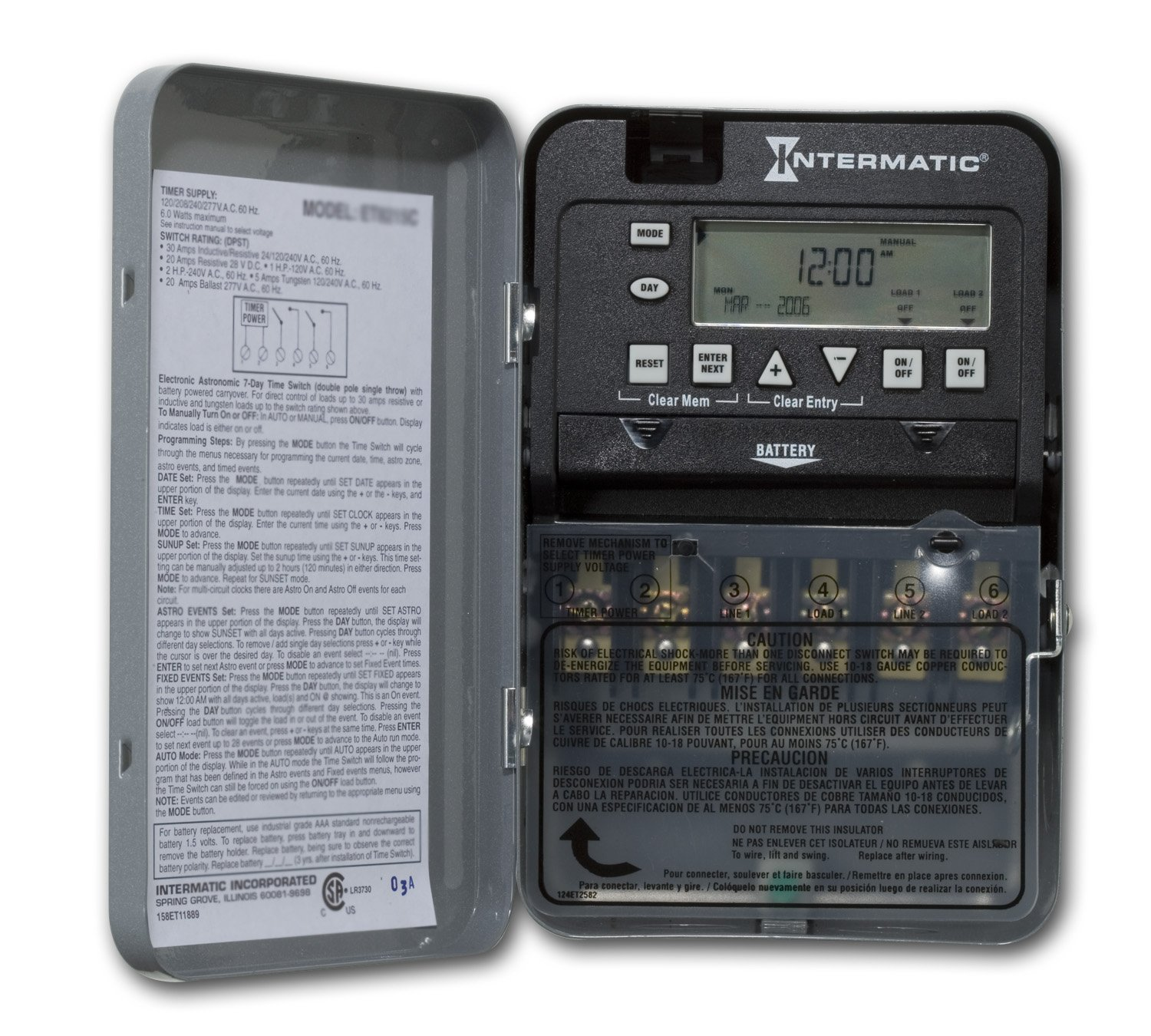 Intermatic ET1725C 7-Day 30-Amps 2XSPST OR DPST Electronic Time Switch, Clock Voltage 120-Volt - 277-Volt NEMA 1 by Intermatic