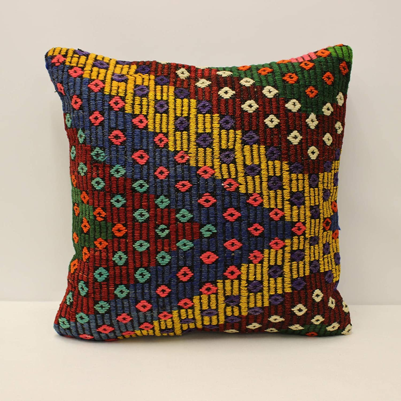 20x20 Turkish Embroidery Kilim Pillow striped Ethnic Pillow Nature Pillow Multicolor Kilim Pillow Cushion Case Decorative pillow SP5050-2643