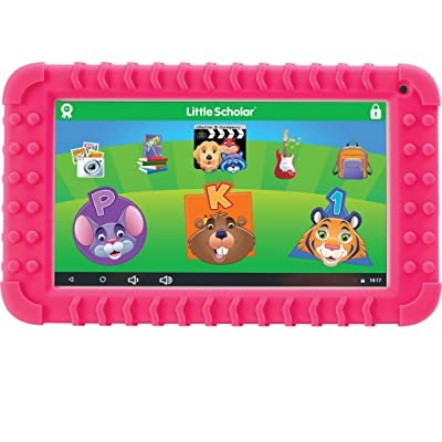 "School Zone - Little Scholar Kids Learning Tablet - Ages 3 to 7, Preschool, Kindergarten, 1st Grade, 7"" Display, 70+ Preloaded Educational Apps, Screen Protector, Silicone Bumper, 16 GB, Wifi, Camera: Computers & Accessories"