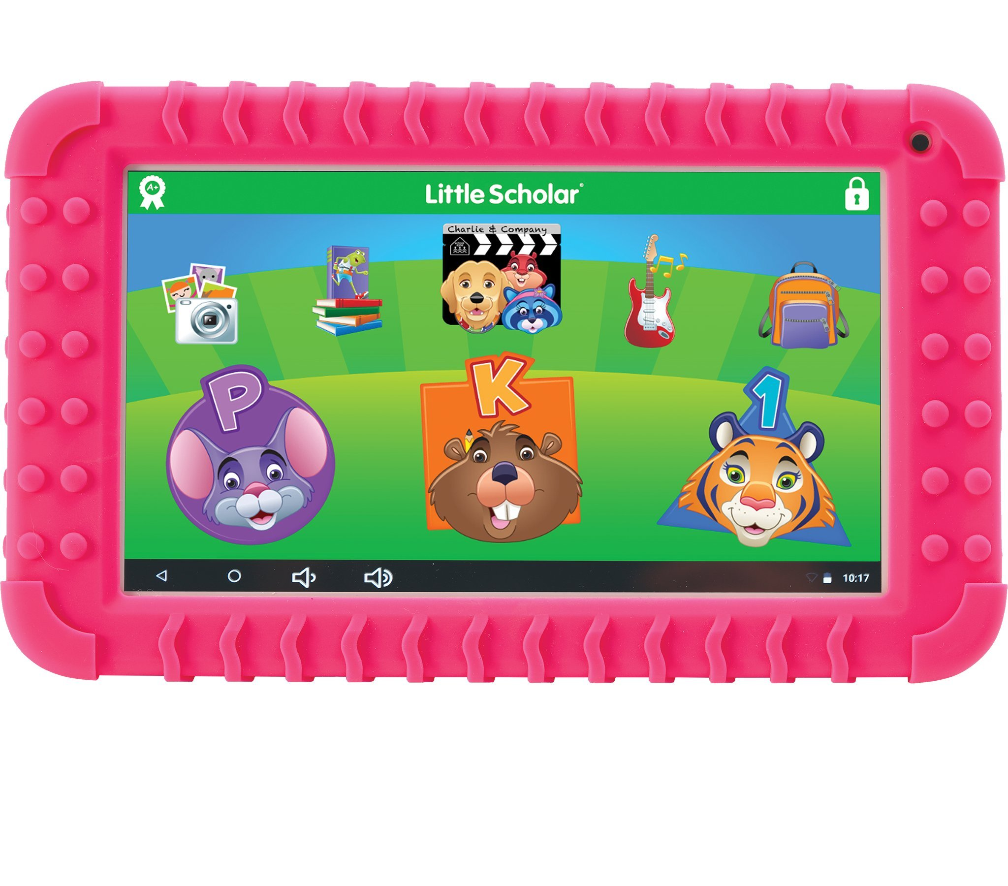 School Zone Little Scholar Best Kids 7'' Tablet, Ages 3-7, PreK-1st Grade, +Bumper, Android, Quad-Core, 16 GB, Wi-Fi, Front & Rear Camera, Pink (08612) by School Zone