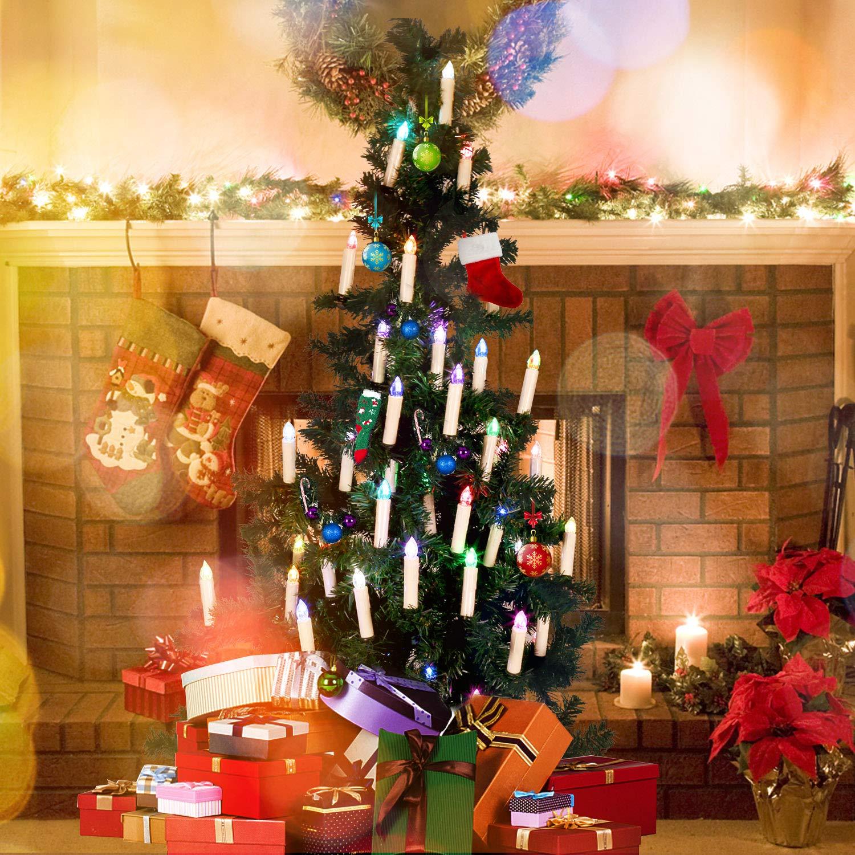 lustre 10pcs bougies d/église Jingrong Bougies LED Bougies scintillantes multicolores avec t/él/écommande de minuterie et clips amovibles pour arbre de No/ël d/écoration de maison et de f/ête
