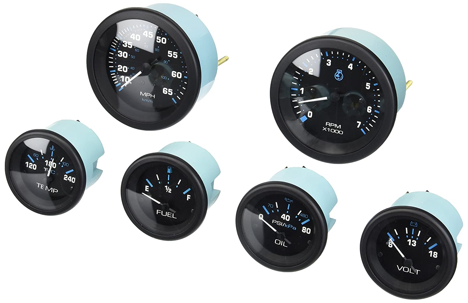 Speed Engine Oil Pressure Sierra International Eclipse 6 Gauge Kit Includes Fuel Tach /& Water Temp Gauges
