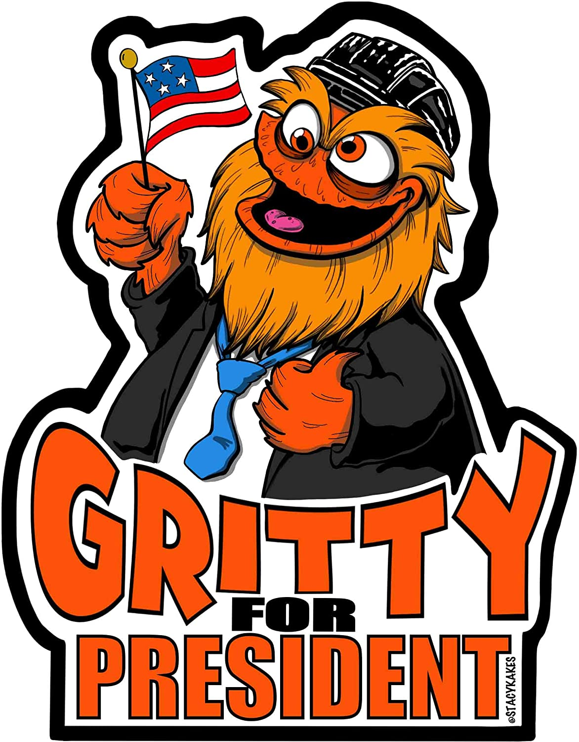 Gritty for President Philadelphia Decal - for Cars, Laptops, and More! - Use Inside or Outside - Sticks to Any Flat Smooth Surface