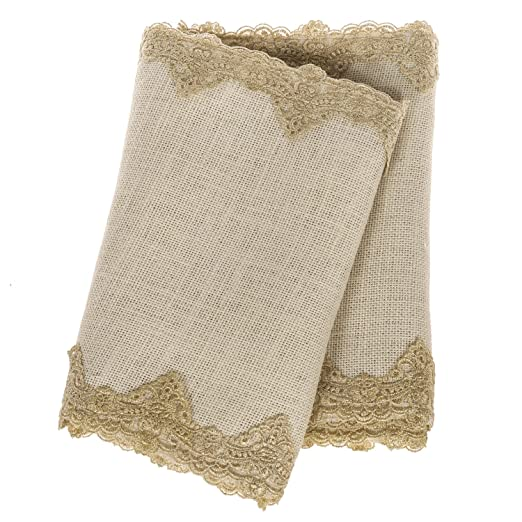 Christmas Tablescape Decor - White Burlap with Gold Lace Table Runner
