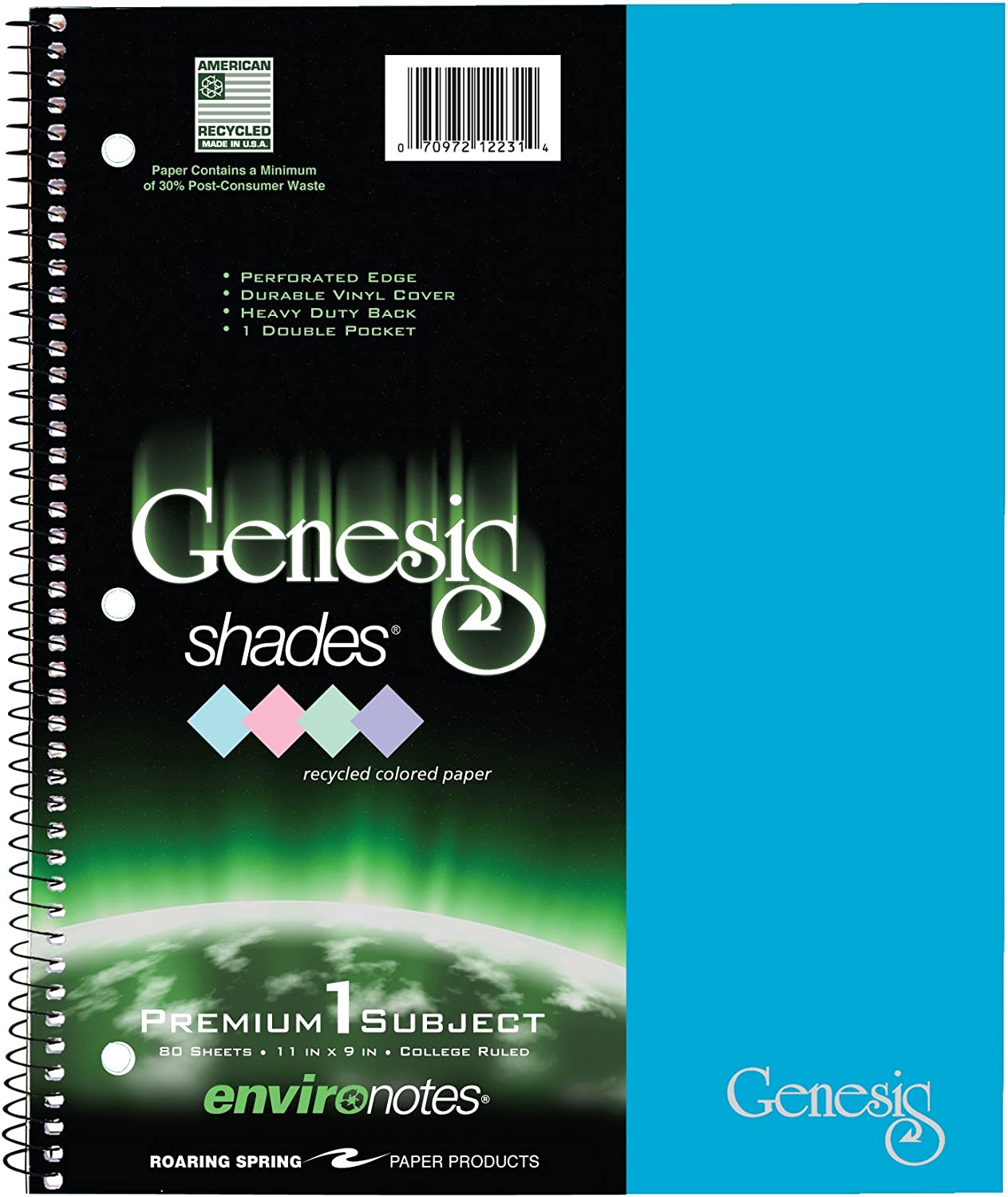 """Roaring Spring Genesis Shades College Ruled Recycled 1 Subject Spiral Notebook, 11"""" x 9"""" 80 Sheets, Assorted Pastel Colors"""