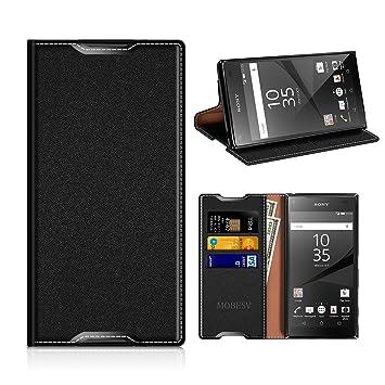 MOBESV Funda Cartera Sony Xperia Z5, Funda Cuero Movil Sony Xperia Z5 Carcasa Case con Billetera/Soporte para Sony Xperia Z5 - Negro
