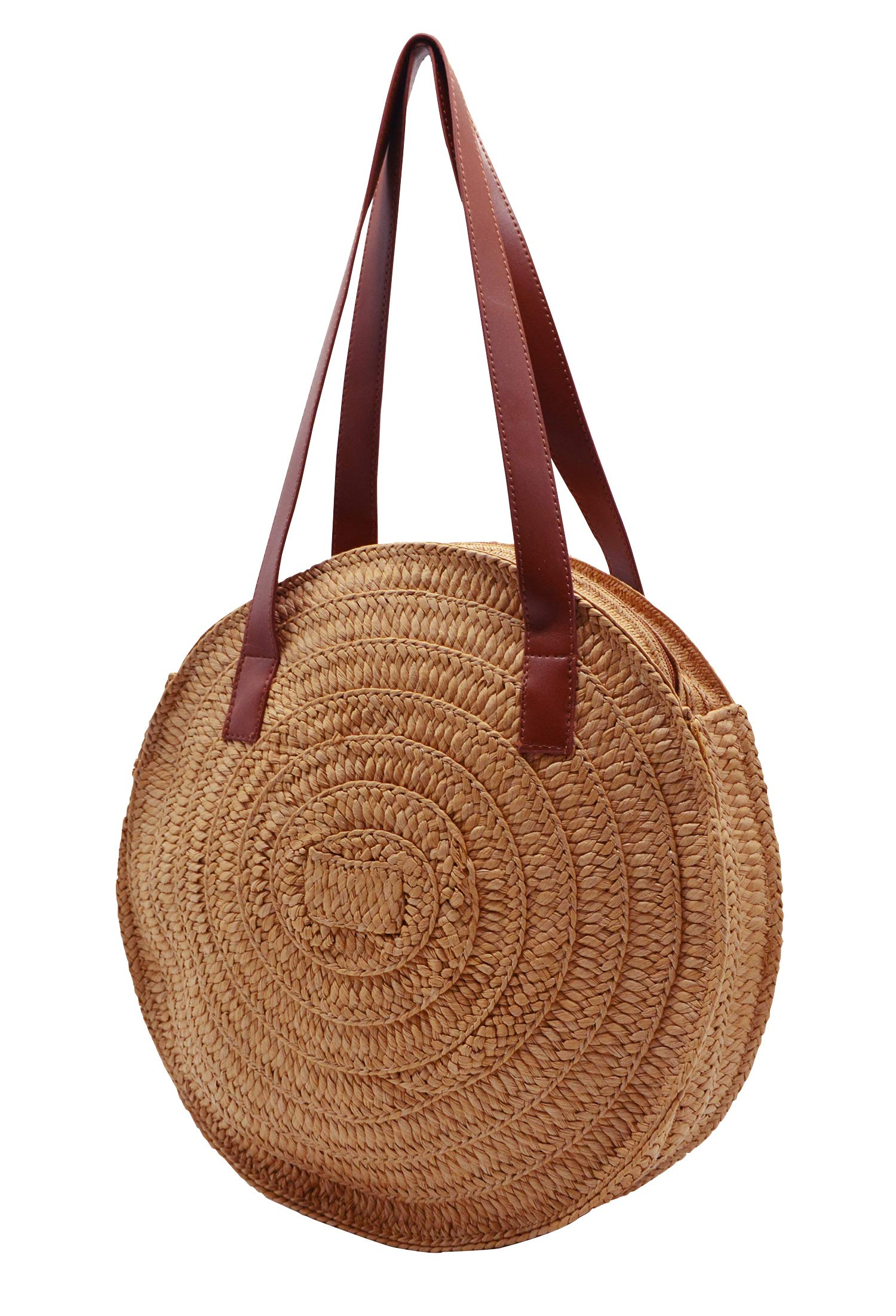 Women Straw Handbag, Summer Beach Tote Bag Handwoven Round Paper String Bag Shoulder Bag with Leather Straps