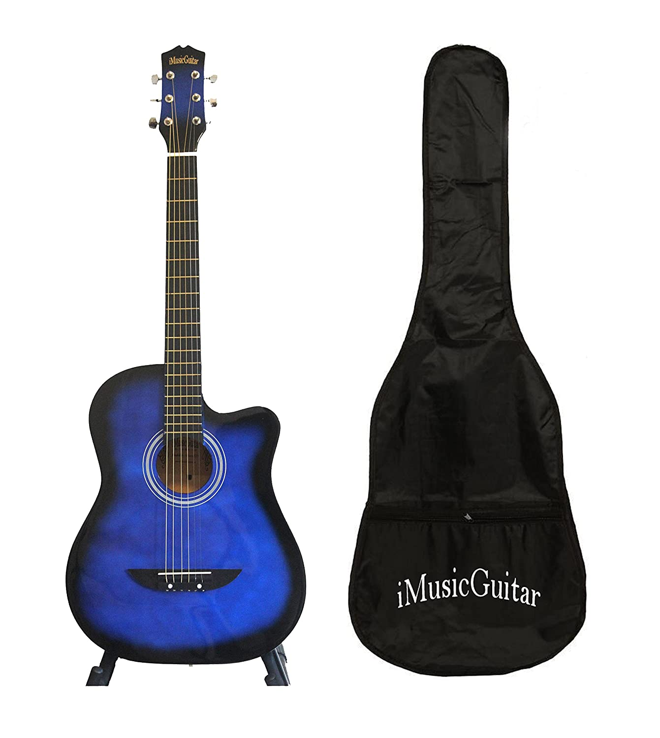 Acoustic Guitar for beginners, children, students with Soft bag iMusic577 Blue iMusicGuitar iMusic575