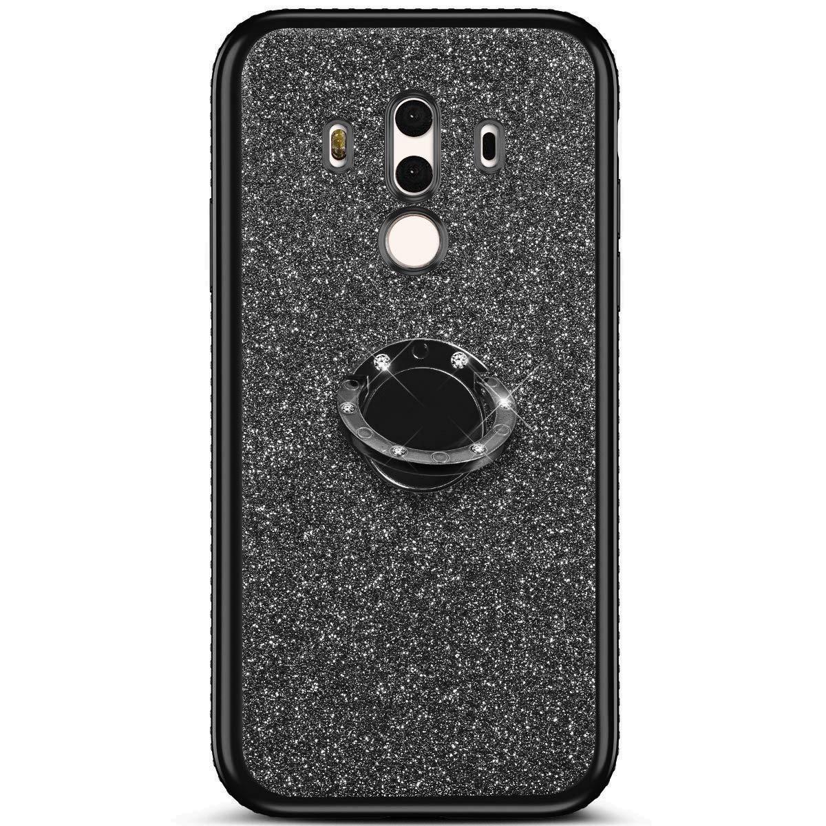 Felfy Cover Compatibile con Huawei Mate 10 PRO Custodia Glitter Brillantini Diamante Strass Morbido Silicone TPU Cover con Anello Bling Cristallo Strass Placcatura Bumper AntiGraffio Case-Rosso