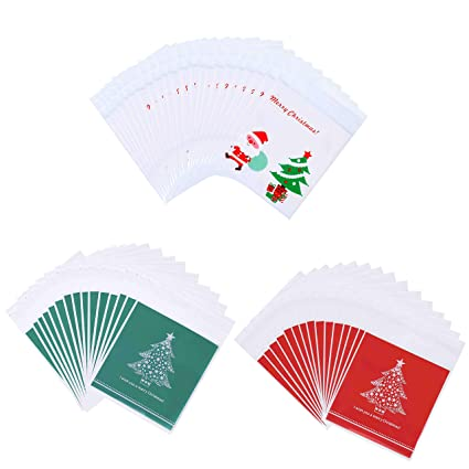 HONGXIN-SHOP Bolsas de Dulces de Navidad Muñeco de Nieve Santa Autoadhesivas Bolsa de Galletas Transparente para Regalo de Fiesta 300 Piezas