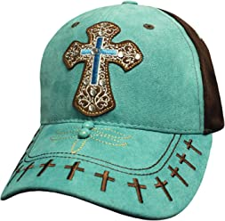 42c2e40d68f7 Capsmith Cowgirl Cross Cap One Size w Faux Suede Construction Rhinestones  Turquoise
