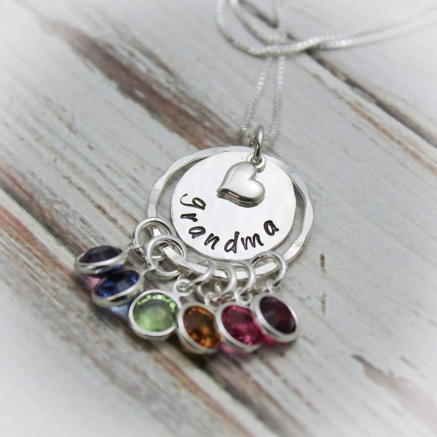 5f24c8b551f60 Grandma Birthstone Necklace Grandmother Necklace Grandchildren Hand Stamped  and Personalized - Sterling Silver