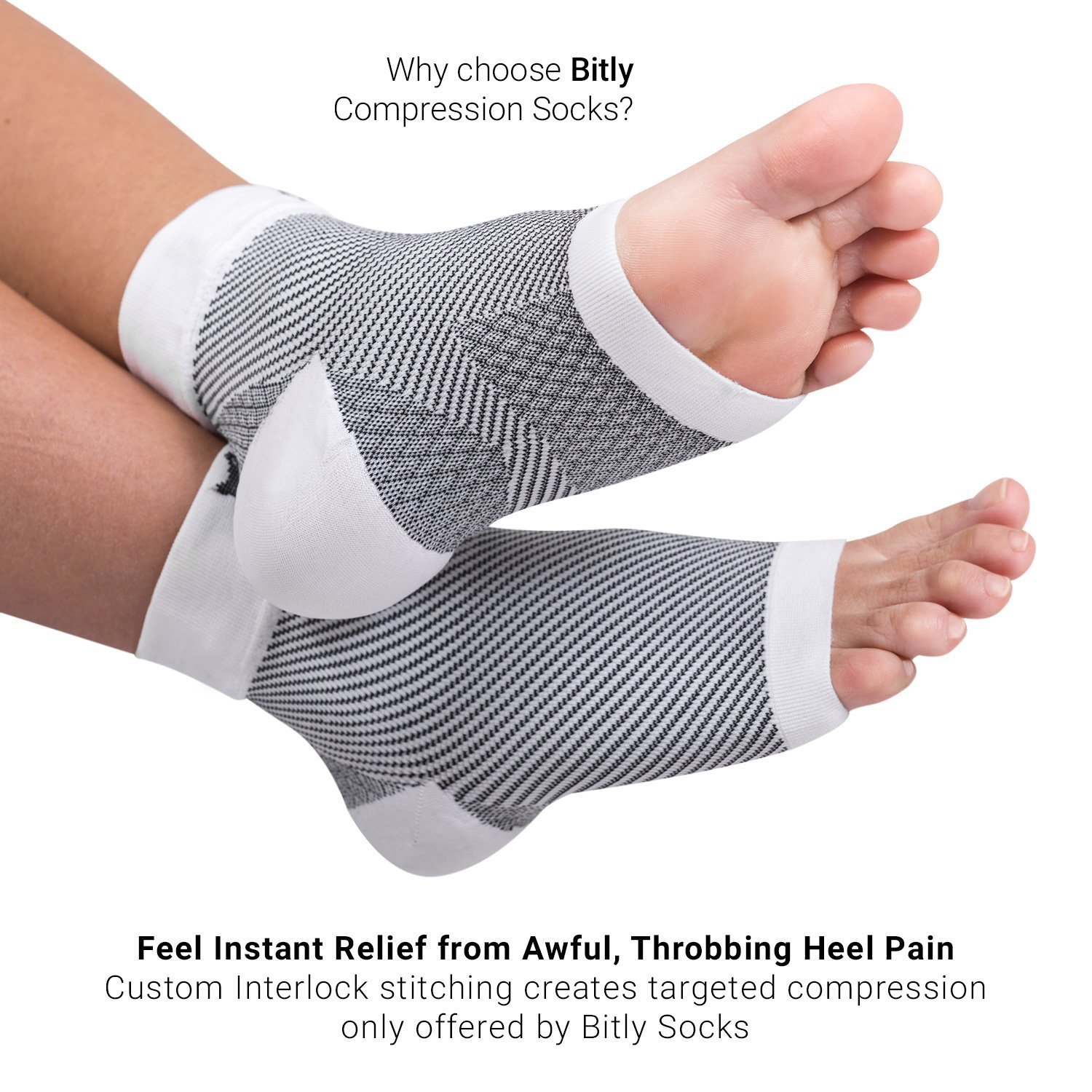 46ade1d750 Amazon.com: Bitly Plantar Fasciitis Socks (1 Pair) Premium Ankle Support foot  Compression Sleeve (Medium): Health & Personal Care
