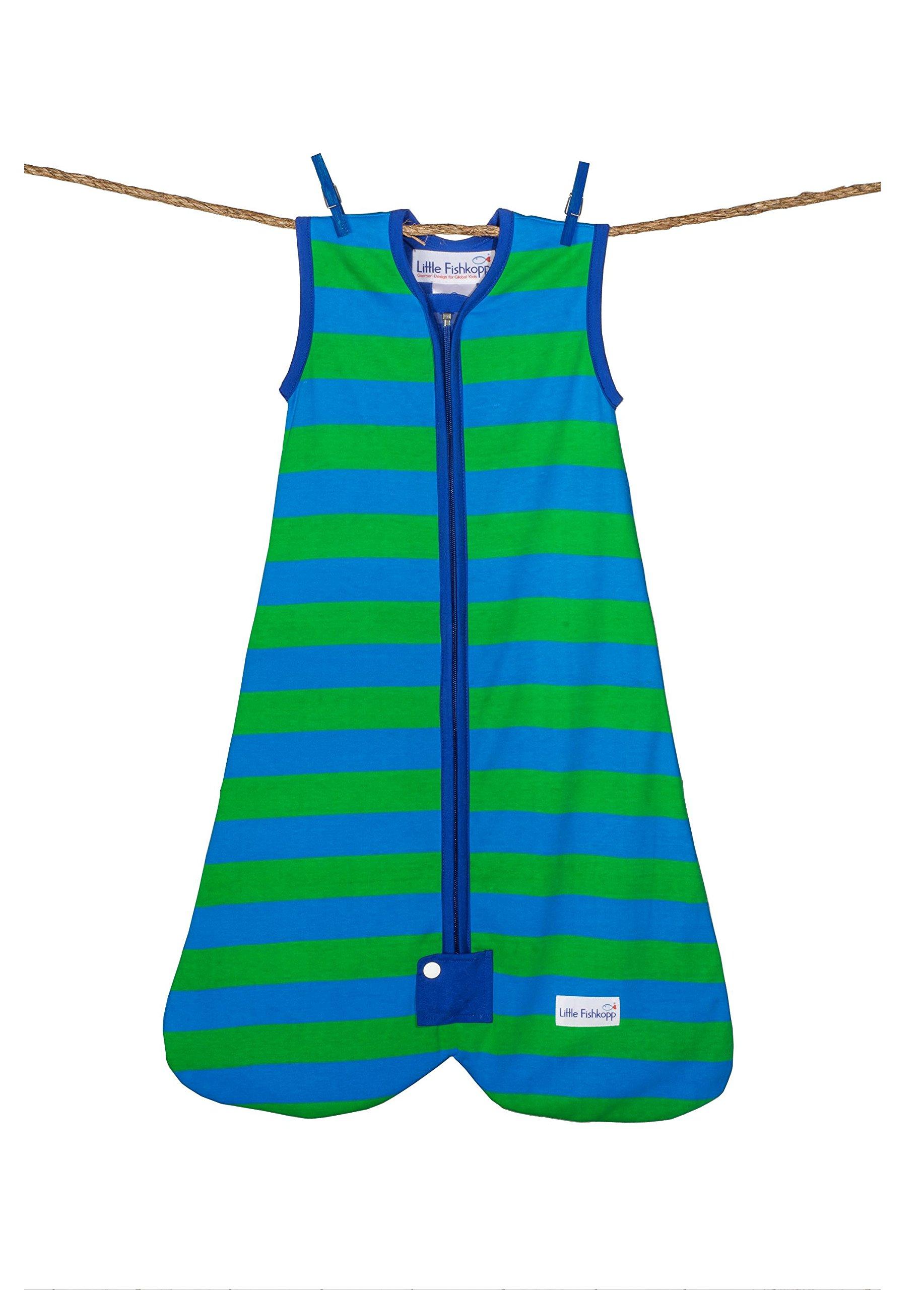 Little Fishkopp Organic Cotton Baby Sleep Bag, Stripes, 1.0 Tog, Green/Blue, Medium