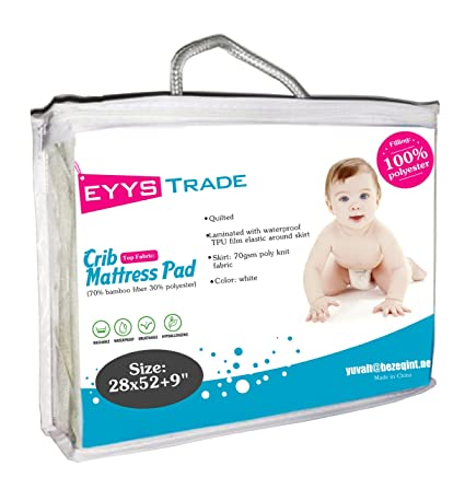 Waterproof Ultra Soft Baby Crib Mattress Pad Protector,Quilted Fitted and High Absorbency Cover for Your Baby Safety,by EYYS Trade (White)