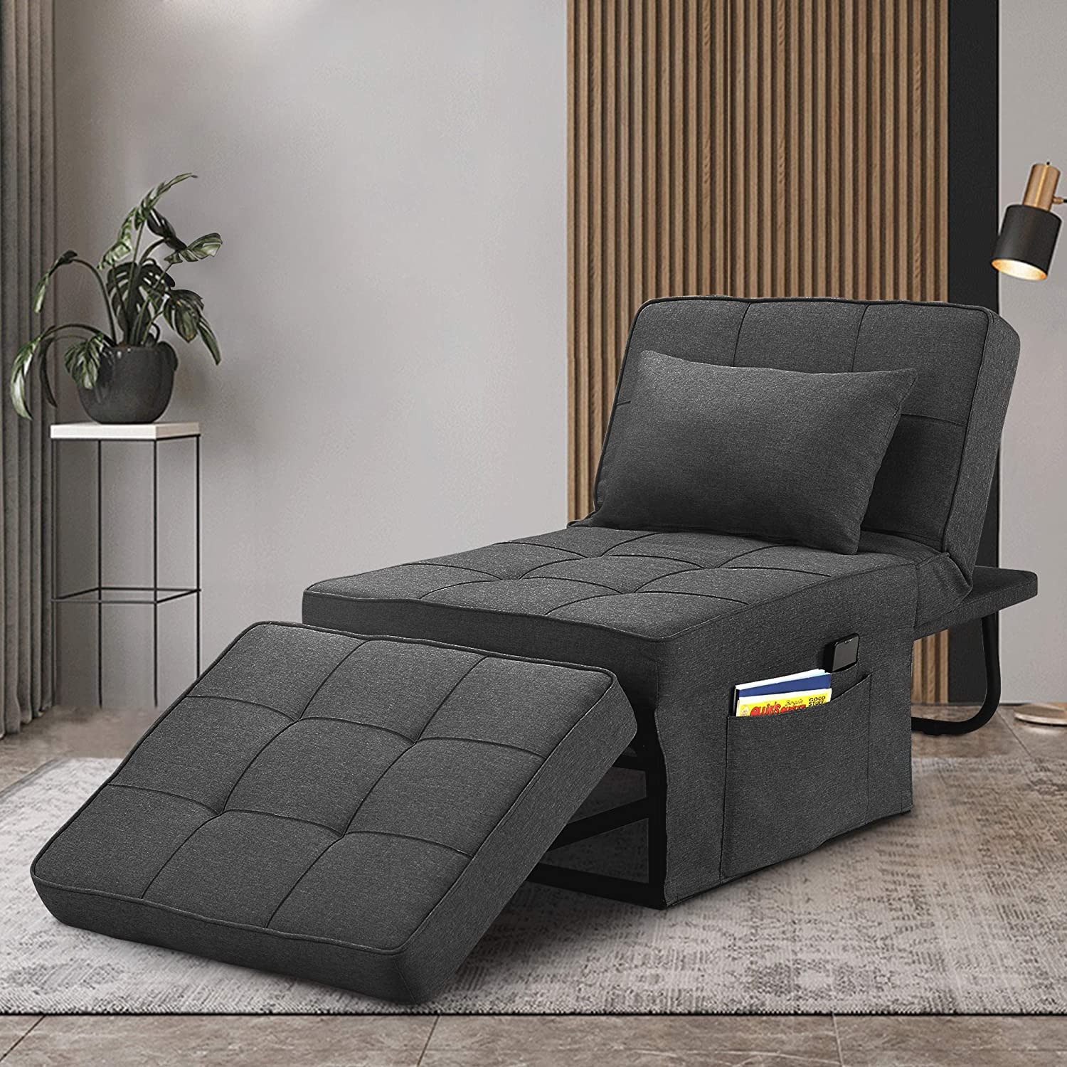 Saemoza Sofa Bed, 4 in 1 Multi Function Single Folding Ottoman Bed with Storage Bag, Modern Sleeper Convertible Chair Adjustable Backrest Small Couch Bed for Living Room/Small Apartment