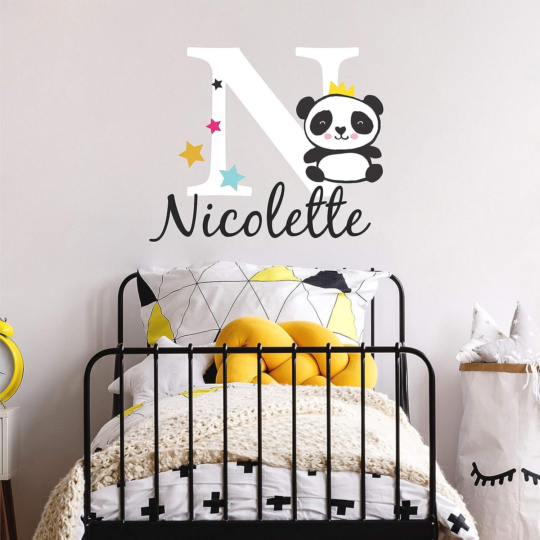 Nursery Panda Name and Initial Custom Wall Decal Sticker, Girl Name Wall Decal, Girls Name, Wall Decor, Personalized, Girls Name Decor, Girls Nursery, Plus Free White Hello Door Decal (L)