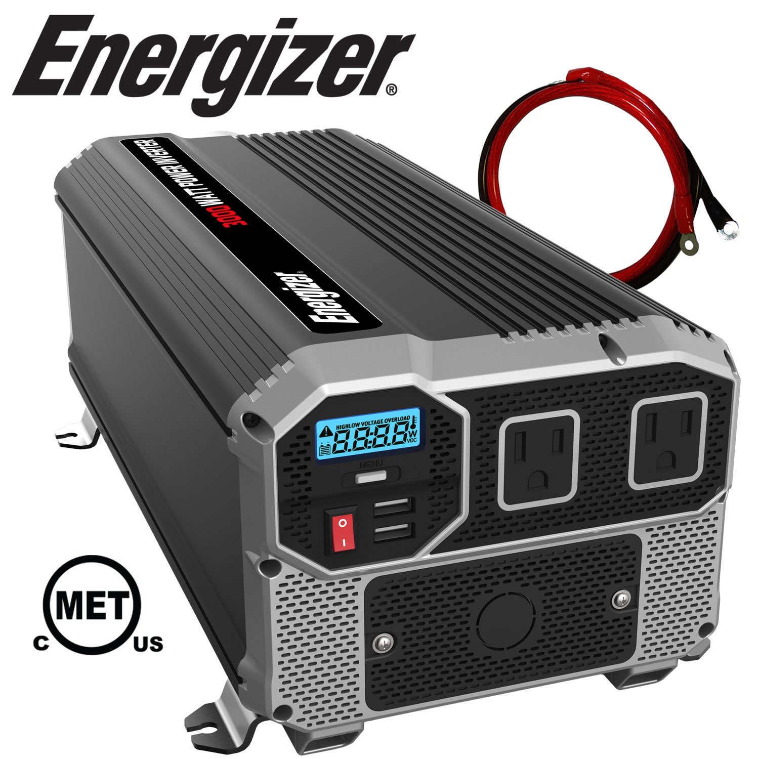 Energizer 3000 Watt 12V Power Inverter, Dual 110V AC Outlets, Automotive Back Up Power Supply Car Inverter, Converts 120 Volt AC with 2 USB Ports 2.4A Each by Energizer