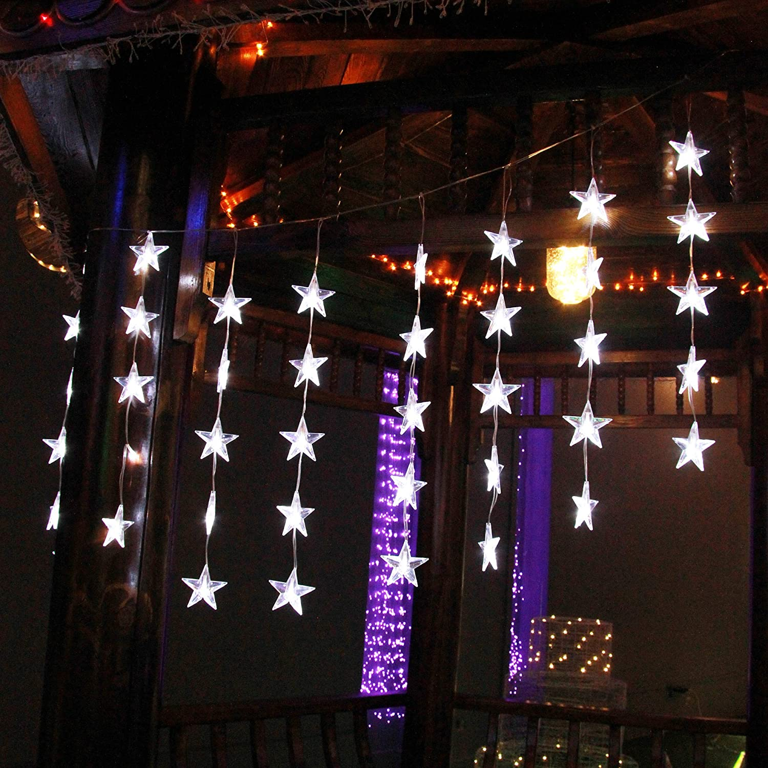 KNONEW Color Changing String Lights, Star Icicle Lights, 80 LED, 9 Modes Plug in Fairy Light String for Christmas Wedding Party Halloween Bedroom Backdrops Decorations (Warm White+ Daylight White)