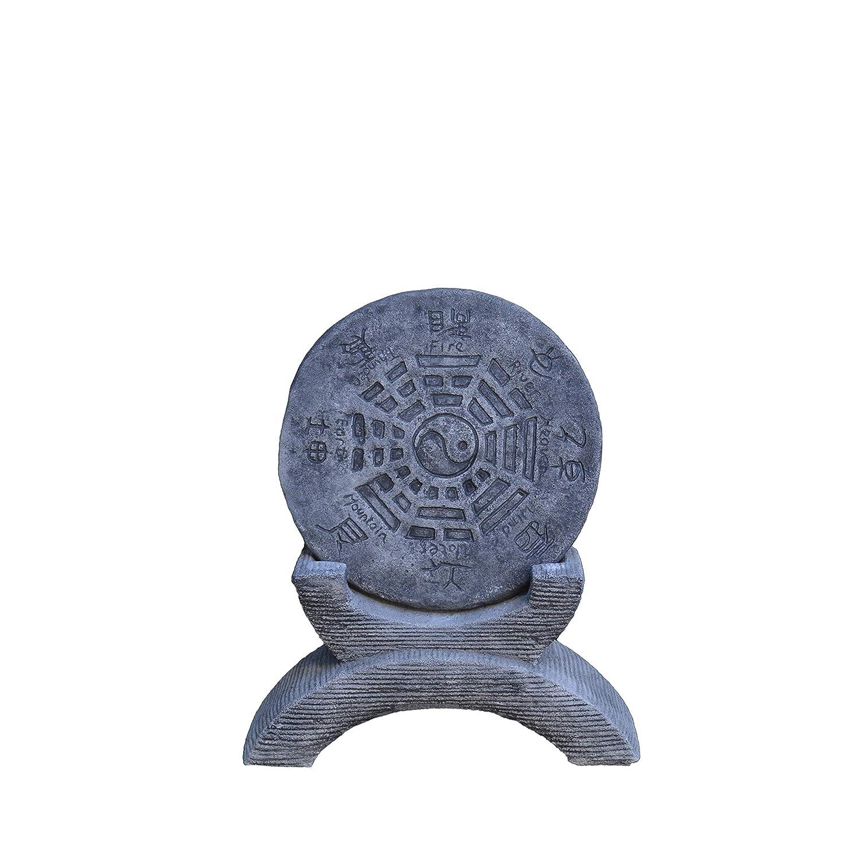 Chinesisches Gartenhoroskop Schriftzeichen Yin Yang Steinguss frostfest