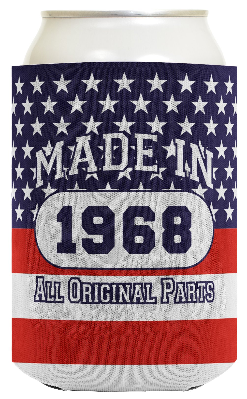 50th Birthday Gift Coolie Made 1968 Can Coolies 2 Pack Can Coolie Drink Coolers Coolies Patriotic by ThisWear (Image #2)