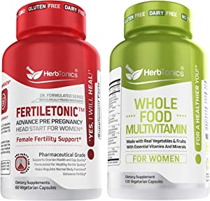 Fertiletonic Female Fertility Support with Whole Food Multivitamin for Women Bundle