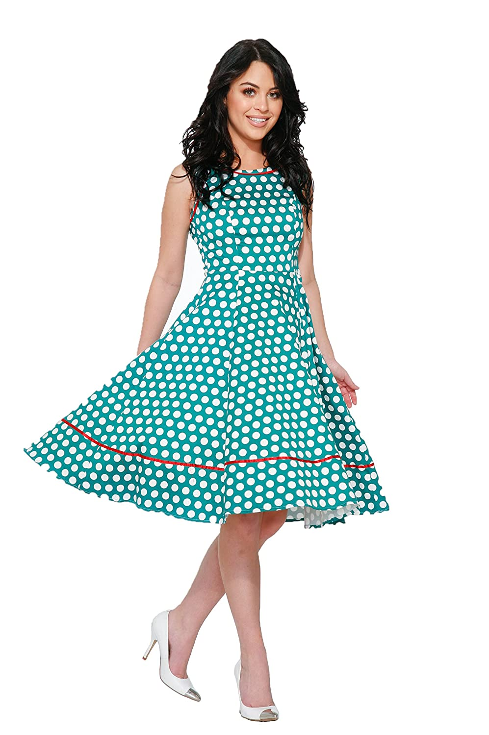 Vintage Polka Dot Dresses – 50s Spotty and Ditsy Prints Hearts & Roses Gretta Day Dress (Shipped from The US and US Sizes) $54.88 AT vintagedancer.com
