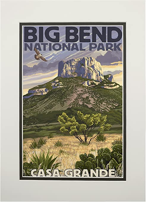 Amazon.com: Big Bend National Park, Texas, Casa Grande 34166 (11x14  Double-Matted Art Print, Wall Decor Ready to Frame): Posters & Prints